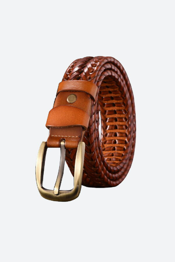 Braided Leather Belt Brown