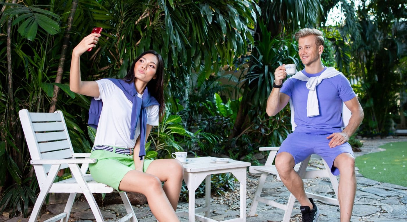 Happy couple wearing various & colorful Bermuda Shorts